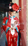 Classical beauty in China. A beautiful girl in Chinese ancient dress is in the royal garden Stock Photos