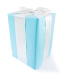 Classical big blue gift box with white bow isolate Royalty Free Stock Photo
