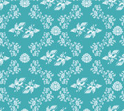 Classical bird and flower wallpaper. Vintage damask seamless blue bird and flower wallpaper background Royalty Free Stock Photography