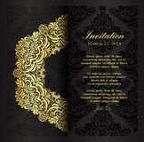 Classical black invitation template with floral vi Stock Photography