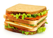 Classical BLT Club Sandwich. Isolated on white background Stock Image