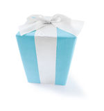 Classical blue giftbox with white ribbon isolated on white backg Stock Photography
