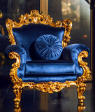 Classical blue royal sofa on luxurious interior Royalty Free Stock Photos