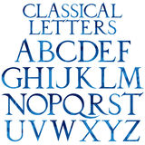 Classical blue watercolor font. Based on Renaissance sketch. Vintage architectural vector letters Royalty Free Stock Photo