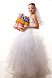 Classical bride with presents Royalty Free Stock Images