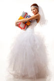 Classical bride with presents Stock Photography