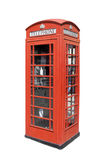 Classical British telephone. Booth against white bakground with clipping path. Hi res Stock Photos
