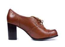 Classical brown leather lady's shoe Royalty Free Stock Photo