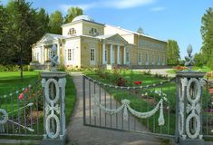 Classical Building In Rose Garden Royalty Free Stock Image