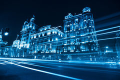 Classical buildings at night in shanghai Royalty Free Stock Image