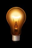 Classical bulb. Classical old style bulb shining on black background Stock Image