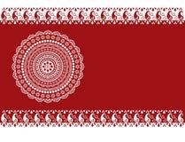 Classical burgundy henna mandala banner Stock Images