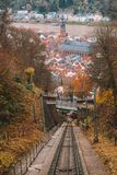 Railway road from the Heidelberg town up the hill. Royalty Free Stock Photography