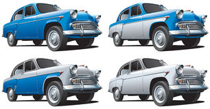 Vintage Soviet car. High quality vector image of Vintage Soviet car, isolated on white background, executed in four color variants. File contains gradients. No Royalty Free Stock Photo