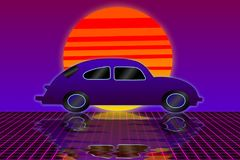 Classical car reflection on grid floor 80s style. Classical car reflection on neon violet grids floor with sunset illustration 80s retro style background royalty free illustration