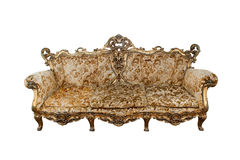 Classical carved wooden sofa isolate on white. Background Royalty Free Stock Photo