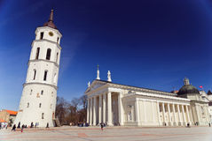 Classical cathedral with tower and square, Vilnius Royalty Free Stock Images