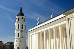 Classical cathedral with tower in Vilnius Stock Photos