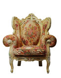 Classical chair w/ clipping path. Classical antique chair with floral pattern, isolated with clipping path Stock Photos