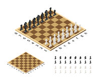 Classical chessboard with chess figures in isometric view on white Stock Photo