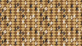 Classical chessboard with chess figures, seamless pattern Royalty Free Stock Image