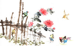 Classical China-- chrysanthemum and bird Royalty Free Stock Photo