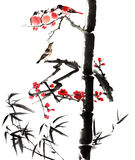 Classical China-- flower and bird. My art work from 2012-2014-- The view of the plum blossom, bamboo and bird stock illustration