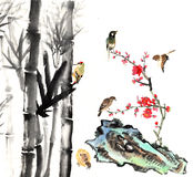 Classical China-- flower and bird. My art work from 2012-2014-- The view of the plum blossom, bamboo, stone and bird stock illustration