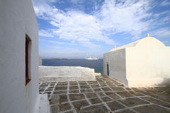 Classical church of Mykonos island Royalty Free Stock Photos