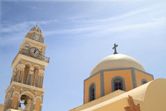 Classical church of Santorini island Stock Photos