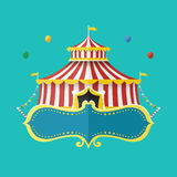 Classical Circus tent with banner for text, Vector illustration Stock Photo