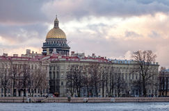 Classical city skyline of Saint-Petersburg. Classical view of city skyline on Neva river with Isaakievsky Cathedral in Saint-Petersburg, Russia Stock Photography