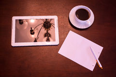 Classical Coffee and Tablet PC Stock Images