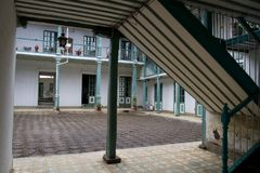 Classical colonial house patio in downtown Royalty Free Stock Photography