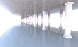 Classical colonnade with arcades and columns. Approach of heaven Stock Image