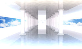 Classical colonnade with arcades and columns. On blue sky Royalty Free Stock Photo
