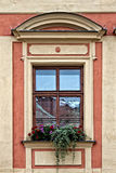 Classical colorful window with pediment in Prague Royalty Free Stock Images