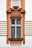 Classical colorful window with pediment in Prague. Czech Republic Royalty Free Stock Photos