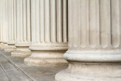 Classical columns close up architecture. Horizontal perspective view close up of classical building marble white columns with stairs Royalty Free Stock Photos