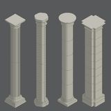 Classical columns, isometric Royalty Free Stock Images