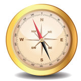 Classical compass gold on white Stock Image