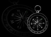 Classical compass, showing directions, on black. Classical compass, showing directions, with a bigger transparent one on black background royalty free illustration