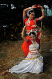 Classical dancer. Two adolescent Indian girls are showing dance pose at rehearsal before there dance performance in Kolkata, India Stock Photo