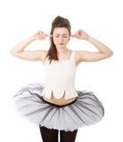 Classical dancer closing ears Stock Photos