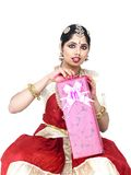 Classical dancer with a gift box Stock Photo