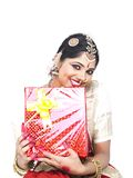 Classical dancer with a gift box Royalty Free Stock Photography