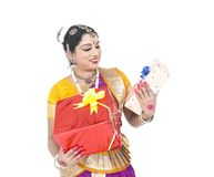 Classical dancer with a gift boxes Stock Photo