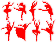 Classical dancers silhouette Royalty Free Stock Images