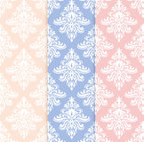 Classical delicate pink, blue and yellow seamless pattern set Royalty Free Stock Images
