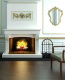 Classical designed fireplace. 3d visualization vector illustration